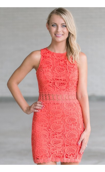 See It Through Fitted Sheath Dress in Deep Coral