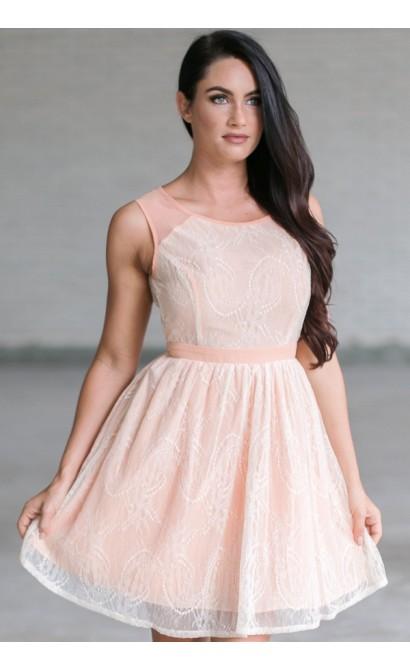 Georgia Peach Lace A-line Dress
