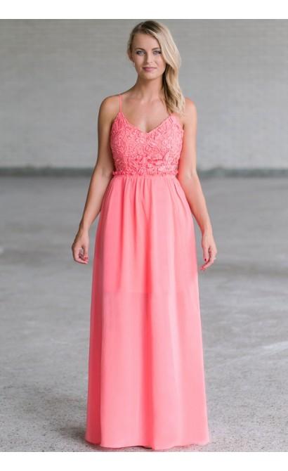 1d3a4e1075 Pink Lace Open Back Maxi Dress, Cute Pink Maxi Dress, Lace Maxi Dress Lily  Boutique