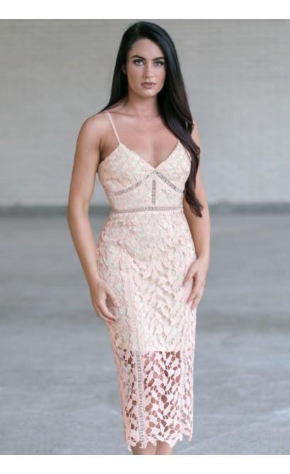Peach Lace Midi Dress, Cute Peach Summer Dress, Peach Lace Cocktail Dress