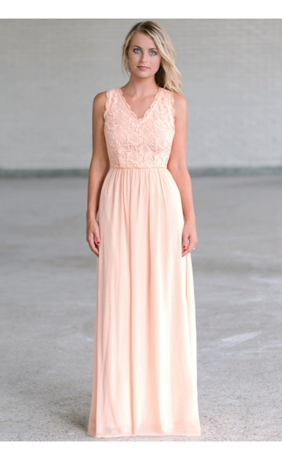 b21eee9d200 Peach Lace Maxi Dress Online