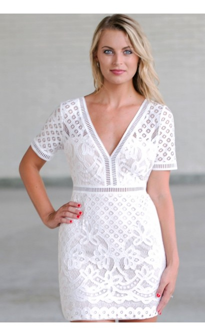 White Lace Sheath Dress Cute Rehearsal Dinner Bridal Shower