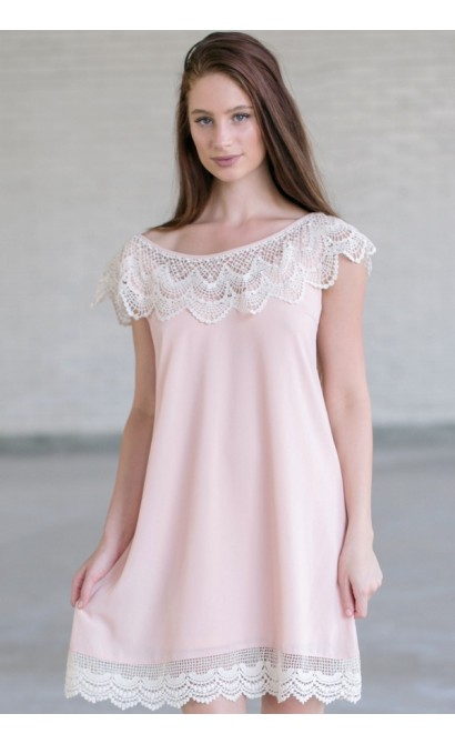 Pink And Ivory Flowy Dress Cute Blush Pink Dress Pink Summer Dress