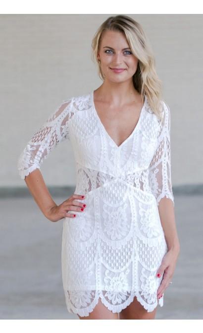 White Lace Sheath Dress, Cute White Lace Dress, White Summer Dress