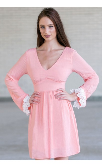 96d7748466a Pink and Ivory Bell Sleeve Dress