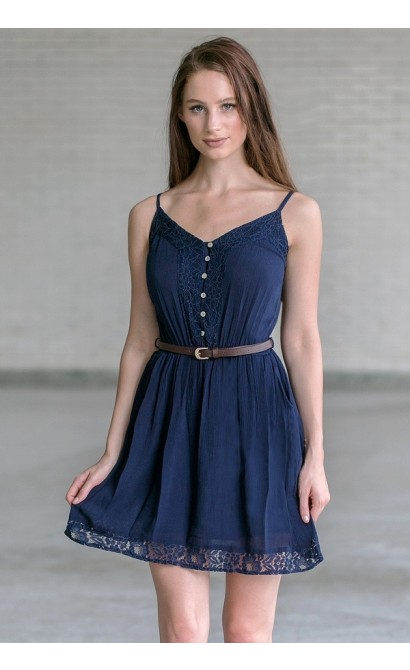 Cute Belted Navy Summer Dress, Navy Juniors Sundress Online