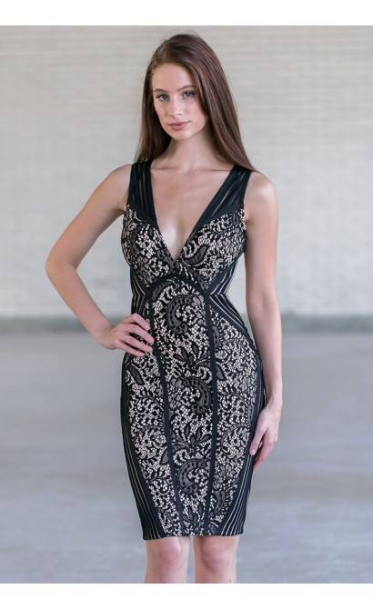Black Lace Bodycon Cocktail Dress, Cute Black Lace Juniors Dress Online