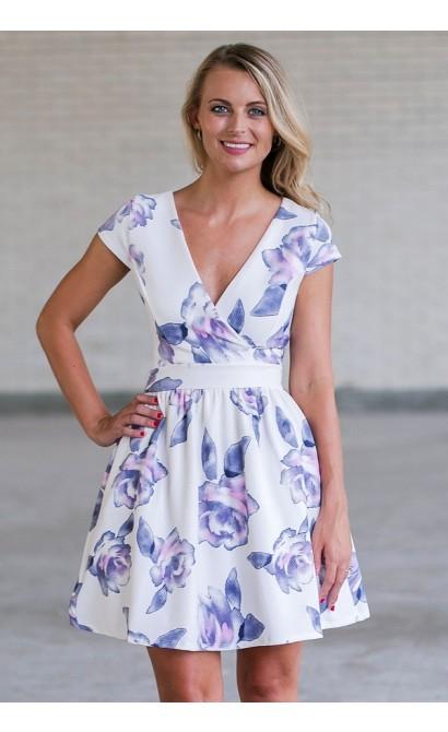 7615edafdb Purple Floral Print A-Line Sundress, Cute Online Boutique Juniors ...