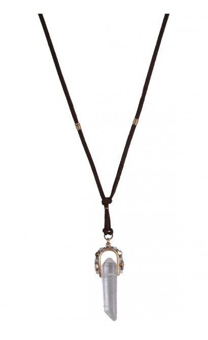 Brown and Clear Crystal Boho Jewelry, Cute Pendant