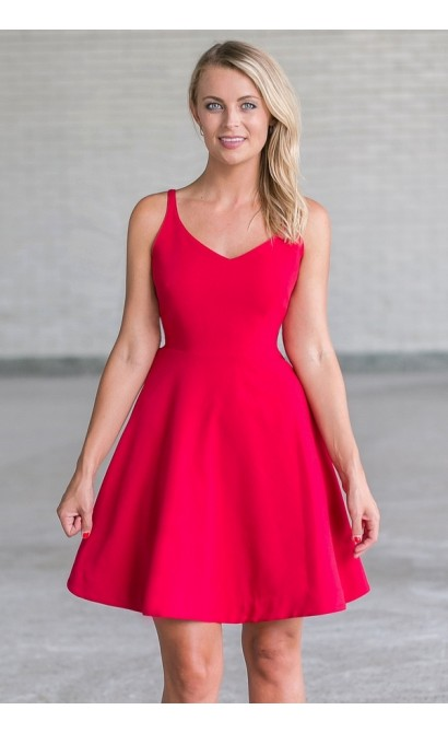 Red A-Line Party Dress