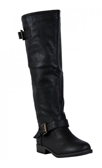 Black Red Zipper Boots, Cute Studded Black Boots Lily Boutique