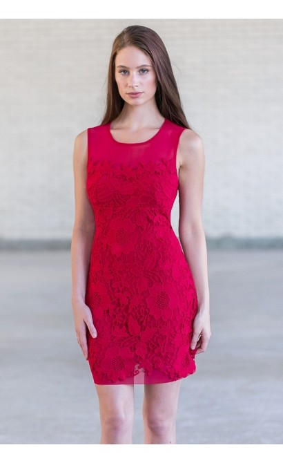 Cute Red Lace Holiday Cocktail Party Dress