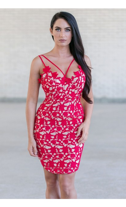 Red Lace Mini Dress, Cute Red Lace Bodycon Dress