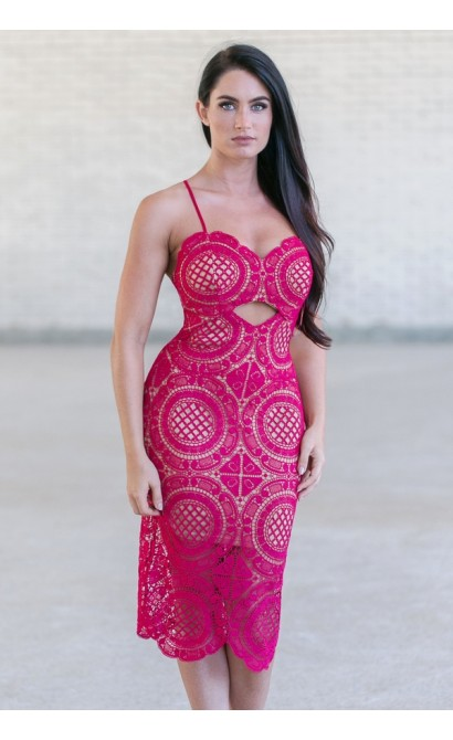 Raspberry Pink Purple Crochet Lace Midi Dress, Cute Boutique Dress