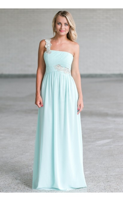 Cute Mint Maxi Bridesmaid Dress Online, Mint Formal Prom Dress