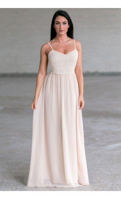 Beige Pearl Maxi Dress Online, Cute Juniors Prom Dress
