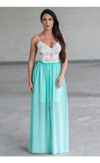 0f087bc6573 Mint Embroidered Open Back Maxi Dress