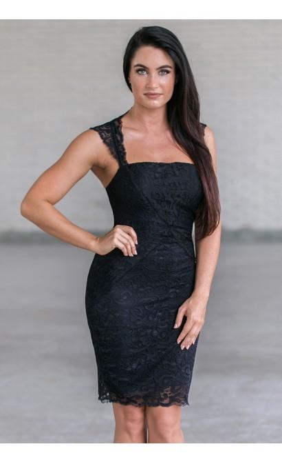 Cute Little Black Lace Cocktail Dress Online, Juniors Black Party Dress
