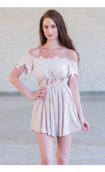 Cute Beige Summer Romper, Online Boutique Romper, Outfit For Teens