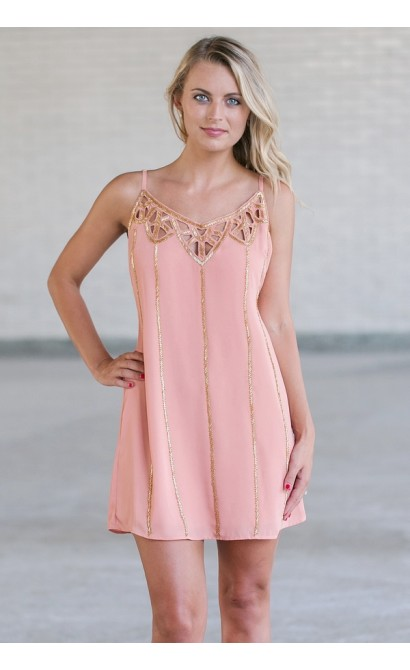 Pink and Gold Beaded Dress, Cute Roaring 20s Dress
