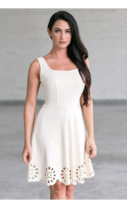 Beige A-line Party Dress, Cute Summer Dress