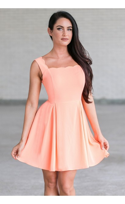 Neon Orange Coral Scalloped A-Line Summer Dress