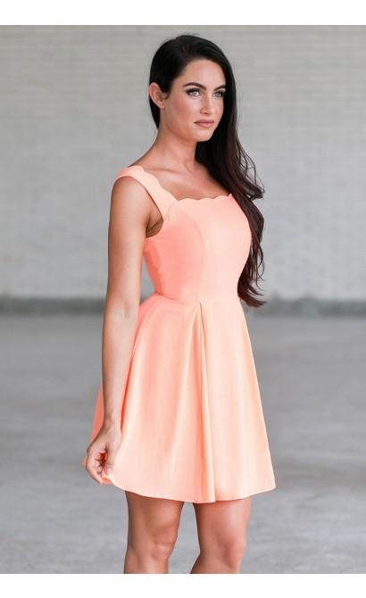 c0512e5b6d9 Neon Orange Coral Scallop A-Line Party Dress