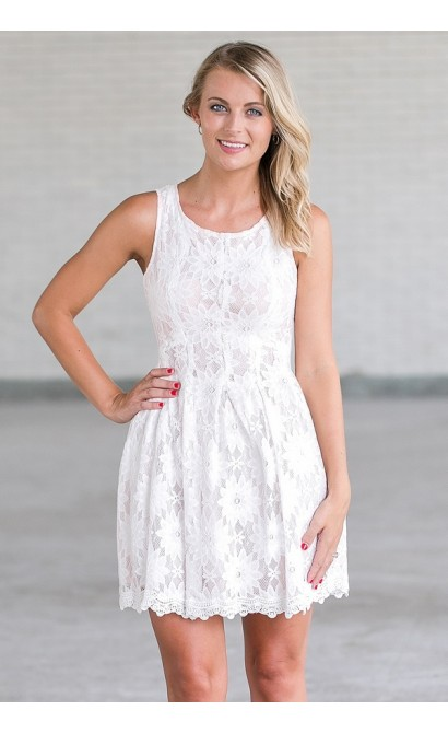 white lace a line dress cute rehearsal dinner dress bridal shower dress