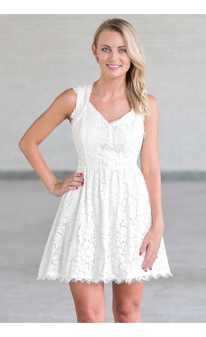 Ivory Lace A-Line Dress, Cute Summer Dress Online