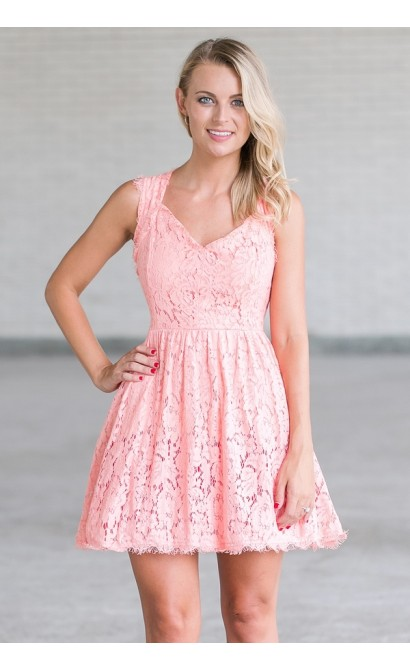 Pink Lace A-Line Dress, Cute Summer Dress Online