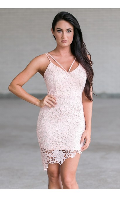 Pink Lace Bodycon Cocktail Dress, Cute Party Dress