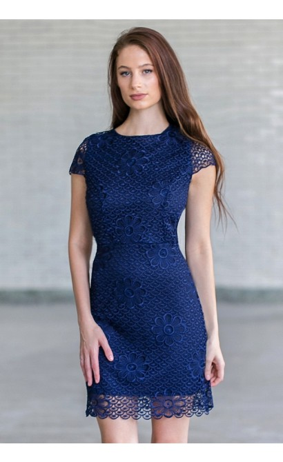 Navy Lace Sheath Dress, Cute Navy Cocktail Dress Online