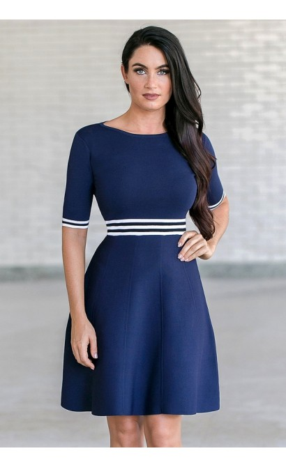 Navy Sweater Dress, Cute Navy Dress Online
