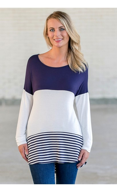Navy Striped Game Day Top, Cute Boutique Shirt