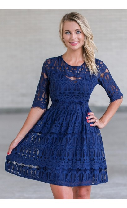 Navy lace A-line dress, Cute Navy Party Dress, bridesmaid dress