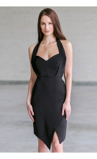 Black Cocktail Halter Dress, Cute Halter Dress Online