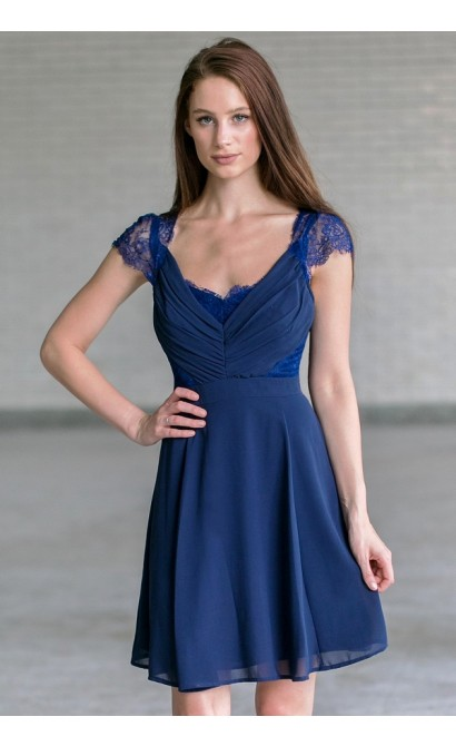 Navy bridesmaid dress, cute navy party dress for juniors