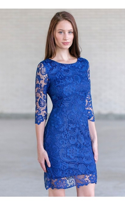 Blue Lace Cocktail Party Dress