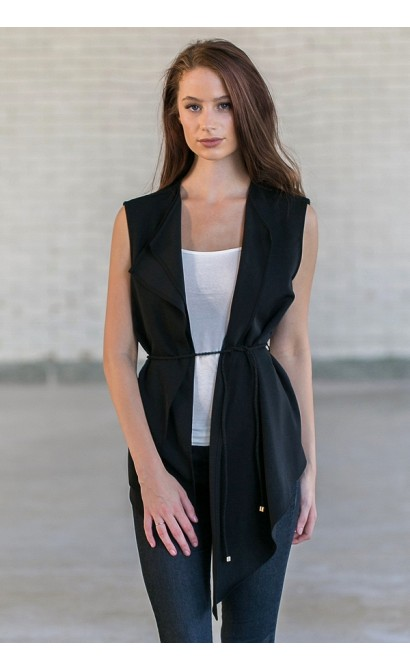 Cute Black Open Vest, Juniors Black Vest