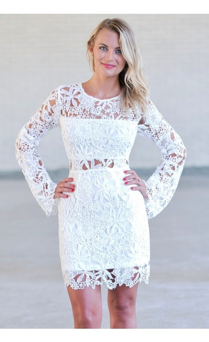 Off White Longsleeve Lace Dress Cute Rehearsal Dinner Bridal Shower