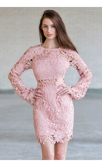 Pink Longsleeve Lace Dress, Cute Pink Boho Dress