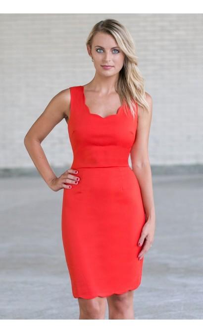 Orange Scalloped Sheath Dress, Cute work dress