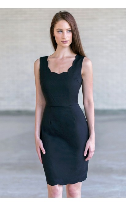 Black Scalloped Sheath Dress, Little Black Dress, Work Dress