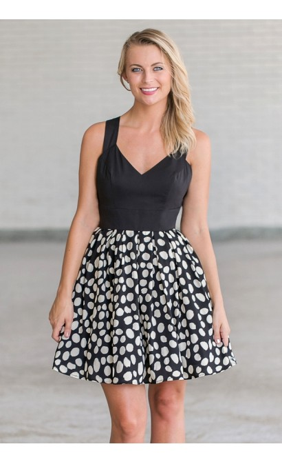 On The Spot Bow Back Black and Ivory Party Dress