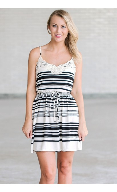 Touch of Crochet Black and Ivory Stripe Dress