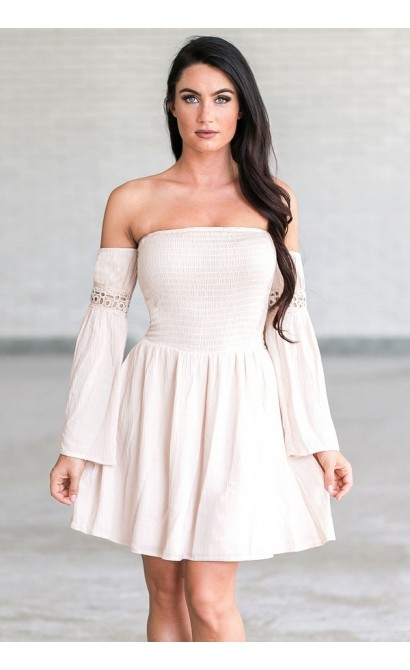 8de61d644a37 Cute Cream Blush Off the Shoulder Fall Boho Festival Dress