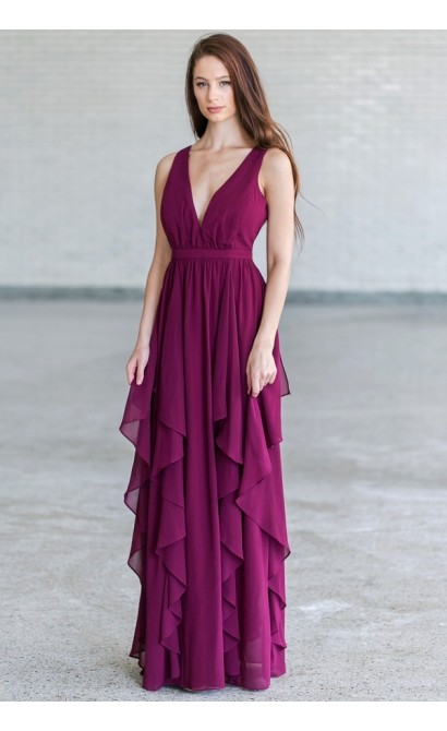 Plum Purple Ruffle Maxi Bridesmaid Formal Dress