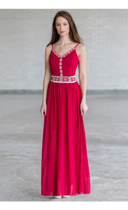 Midnight in Marrakech Embellished Maxi Dress in Wine Red