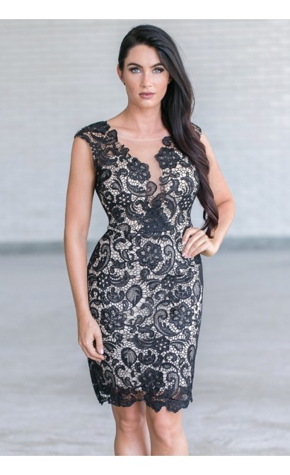 Black Lace Cocktail Party Dress