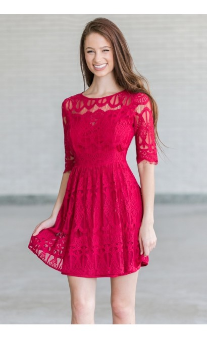 Burgundy Red Lace Holiday Party Dress